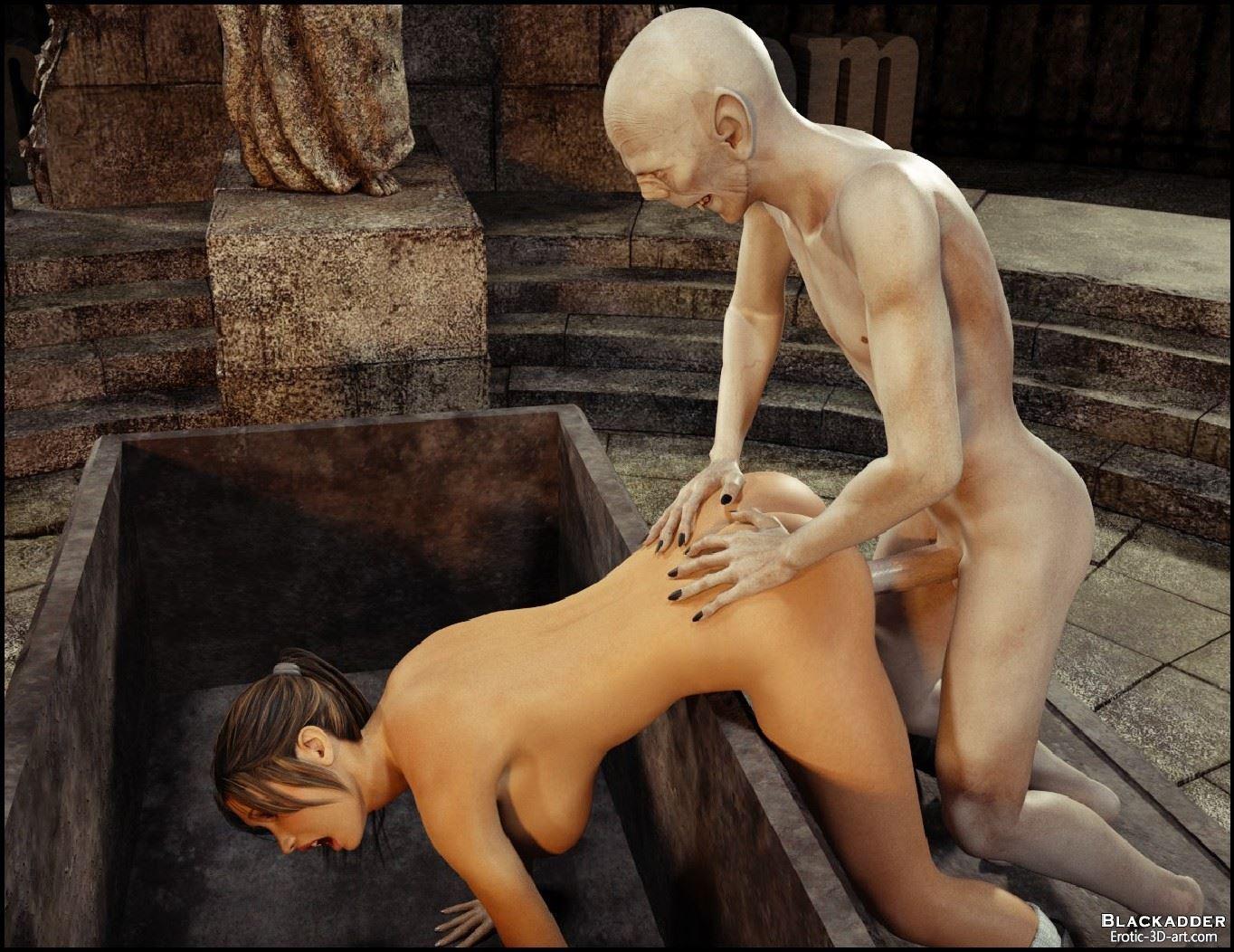 Lara croft raped by a vampire in  erotic scene