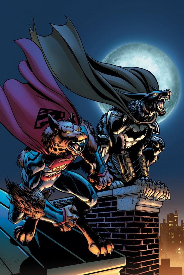 Versiones licántropas de BATMAN/SUPERMAN nº15 por Jon Bogdanove y Alex Sinclair