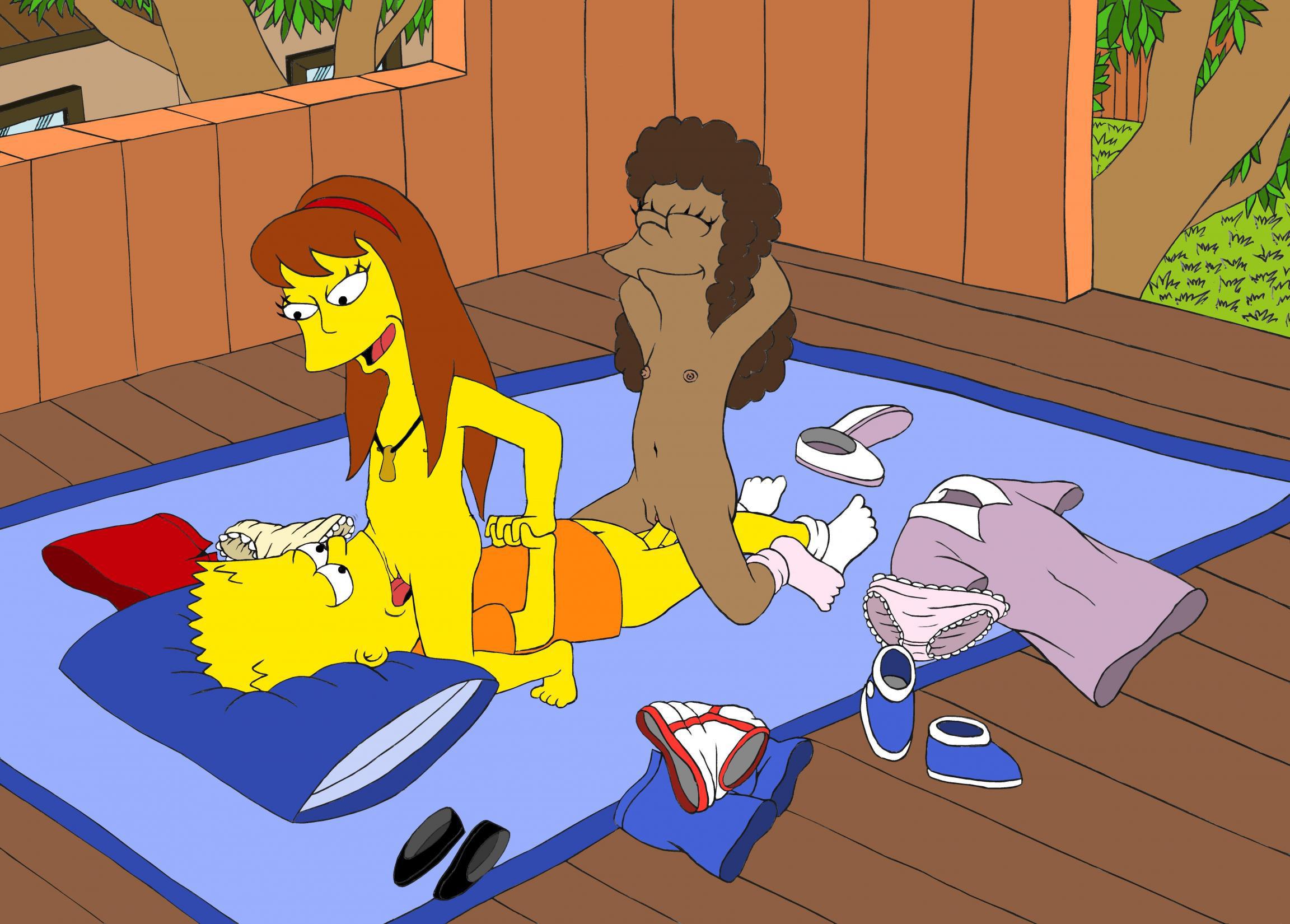 Bart Simpson folla en la casa del árbol