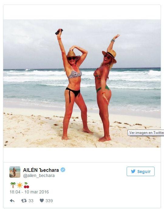 Ailén Bechara con su mamá de vacaciones