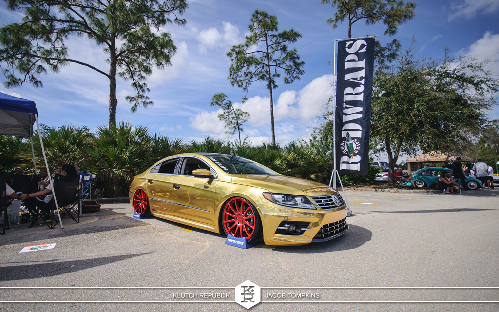 gold wrapped vw passat cc rod wraps red wheels concavo