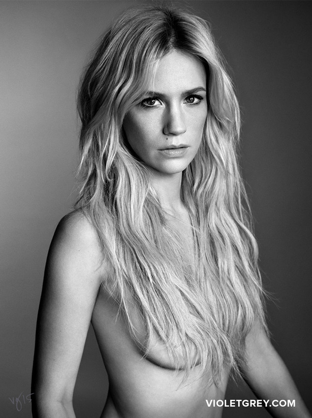 January Jones - Goes Topless for Violet Grey